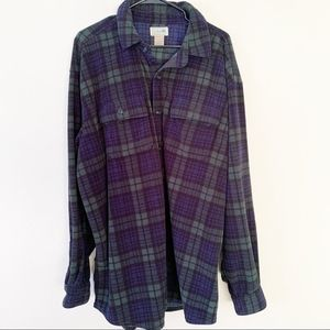 LL Bean Fleece Button Down Tartan Plaid Green